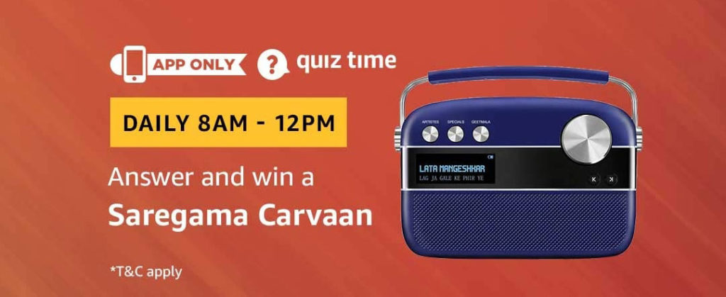 Amazon Quiz Time Daily - Today's Answers [9th-Feb-2019]
