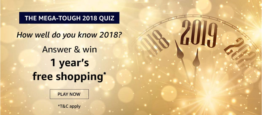 Answers for Amazon Mega Tough 2018 Quiz to Win 1 Year's Free Shopping