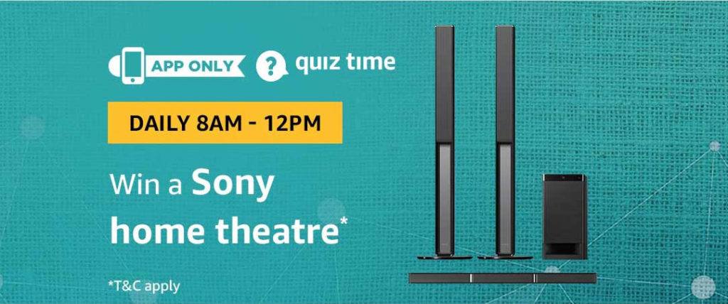 Amazon Daily Quiz Answers - Win a Sony 5.1 Soundbar Home Theater System - [14 May 2019 Daily Quiz]
