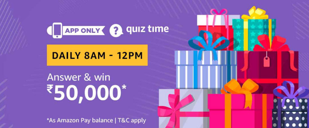 Today's Amazon Quiz Answers - Win Rs.50,000