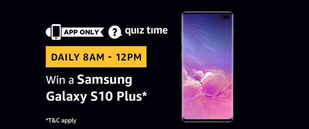 Amazon Quiz Time Daily - Today's Answers [10th-March-2019]