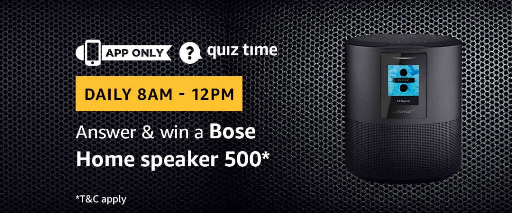 Amazon Quiz Time Daily - Today's Answers [30-March-2019]