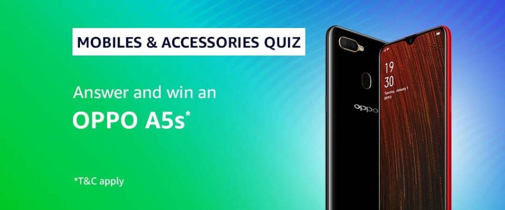 #AmazonMobilesQuiz Answers - Win an Oppo A5s [27 April to 3 May 2019]