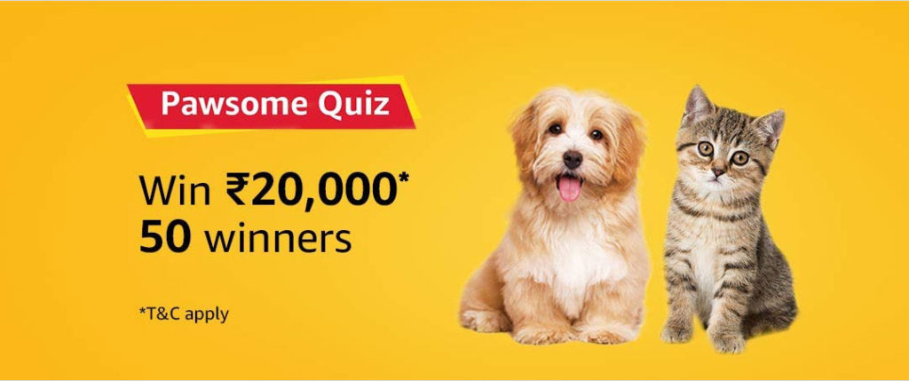 Amazon Pawsome Quiz Answers April 2019 - [20-April-2019 to 9-May-2019]