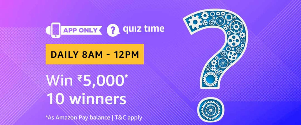 Amazon Daily Quiz Answers - Win Rs.5000