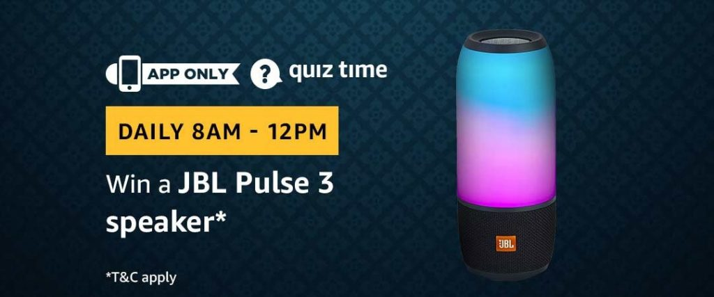 Amazon Quiz Answers 31 May 2019 - Win a JBL Pulse 3 Speaker