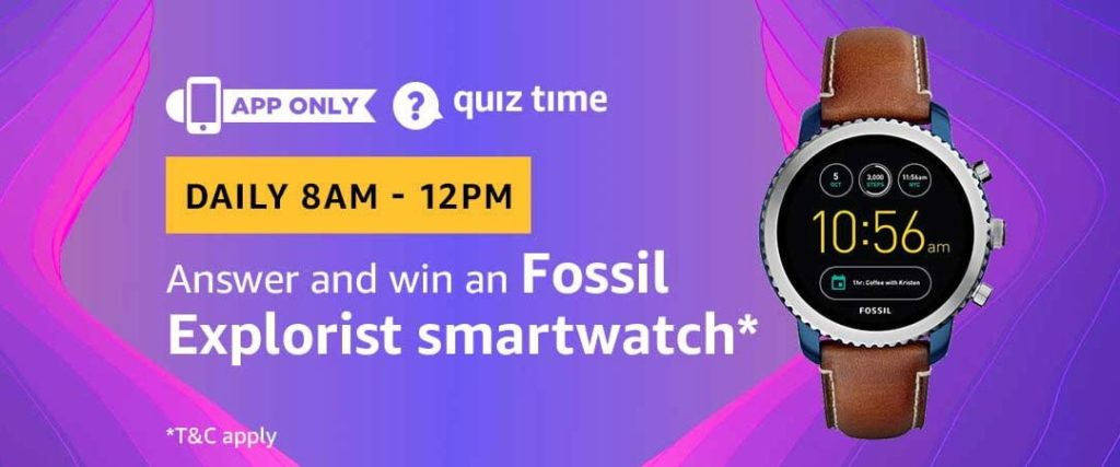 Amazon Quiz Answers - [April-2019, Daily Quiz Monthly Update]