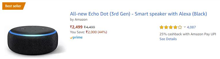 Amazon Echo Dot 3rd Gen Available for Just Below ₹2,499