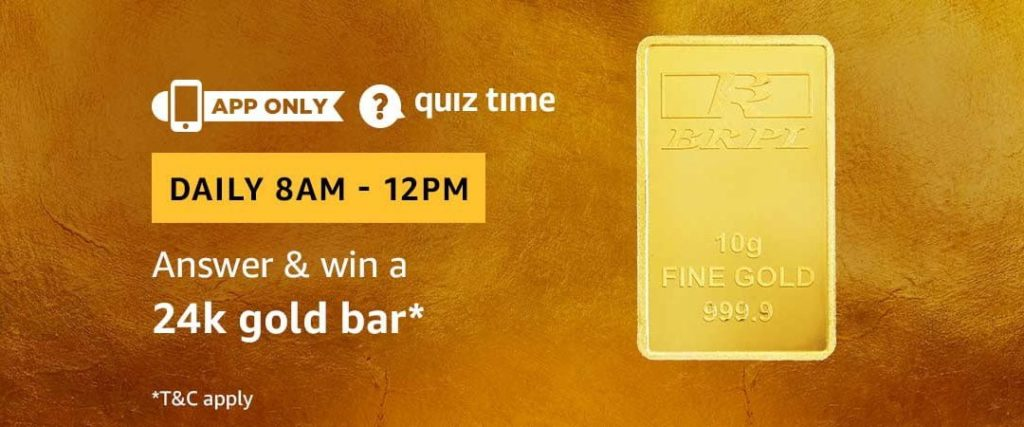 Today's Amazon Quiz Answers for 24K Gold Bar - [1 May 2019 Daily Quiz]