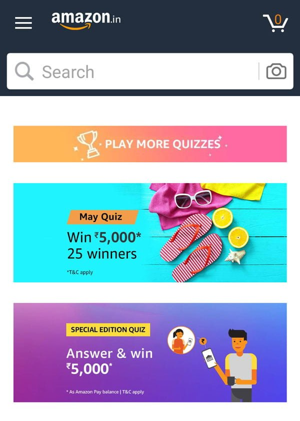 Search for Quiz and tap on the Amazon Special Edition Quiz Banner