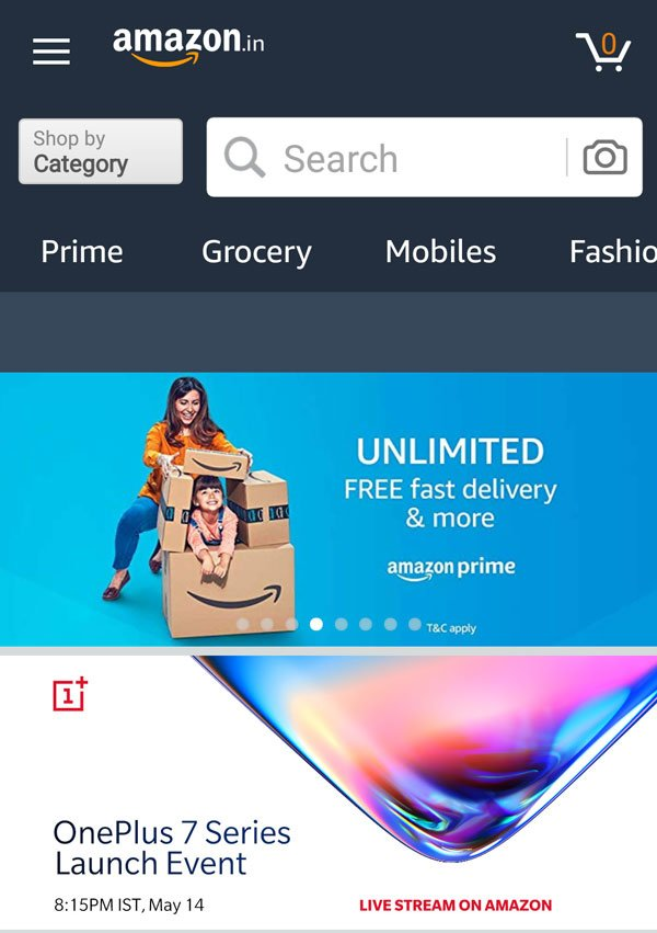 Find the Amazon OnePlus Banner in homepage