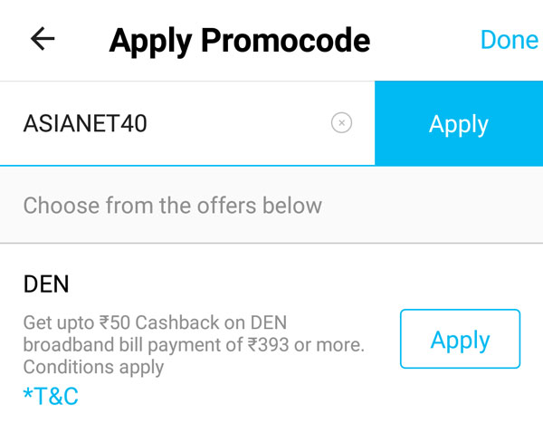 Type the promocode ASIANET40 and apply it