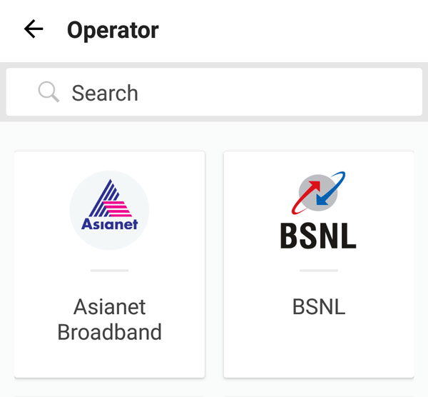 Find the Asianet Broadband from the list of services.