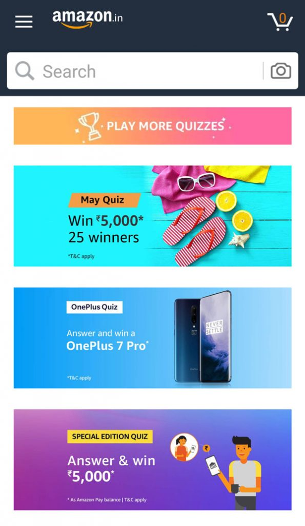Find the OnePlus Quiz from the list of Amazon Quiz Banners