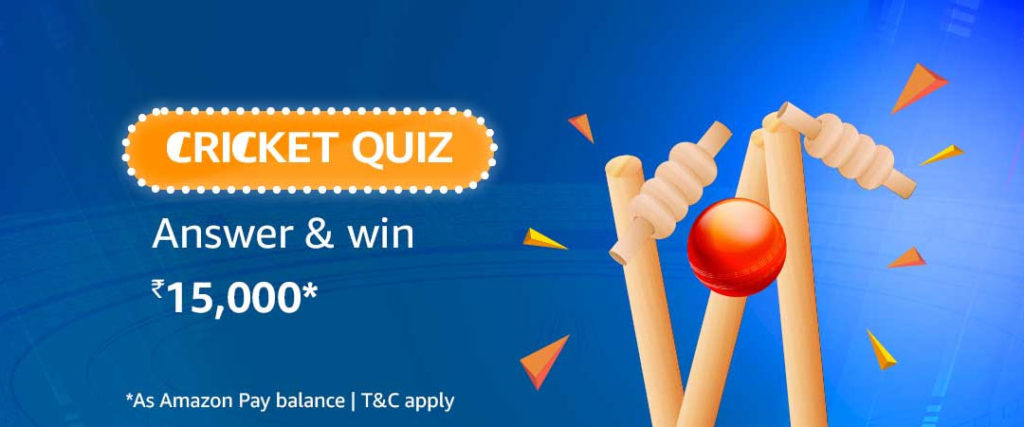Amazon Cricket Quiz Answers - Win ₹15,000 (30 May - 30 June 2019)