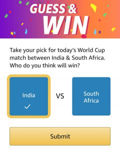 Guess And Win - Who will win? India or South Africa?