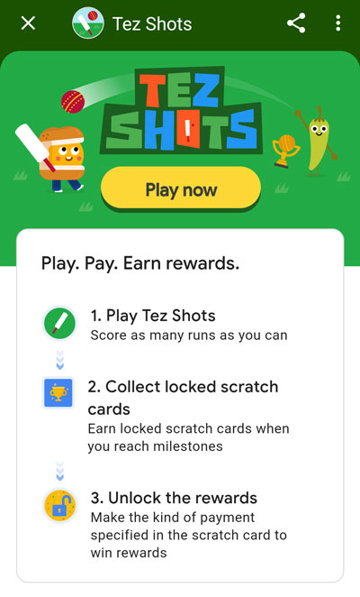 Play Tez Shots Cricket In Google Pay App And Win Scratch Cards