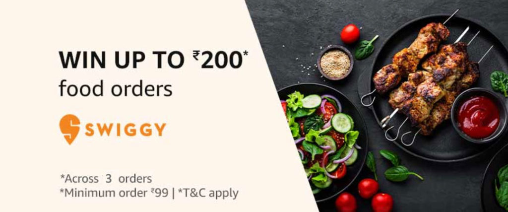 Get ₹10 To ₹200 Amazon Pay Cashback On Next 3 Swiggy Orders (1st - 30th June 2019)