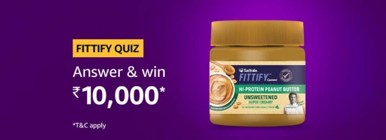 Amazon Fittify Quiz Answers - Win Rs. 10,000 [Till 15 Aug 2019]