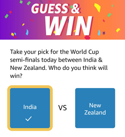 Guess And Win - Who will win? India or New Zealand?