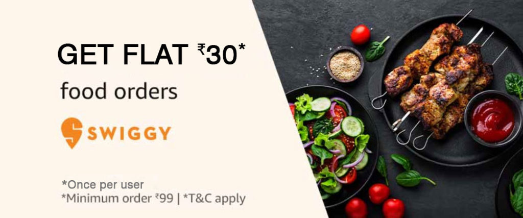 Get ₹30 Amazon Pay Cashback On Swiggy Order Above ₹99 (1 - 31 Aug 2019)