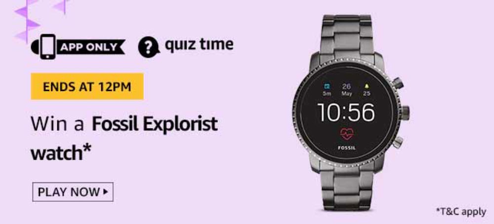 Today's Amazon Quiz Answers - Win Fossil Explorist Watch