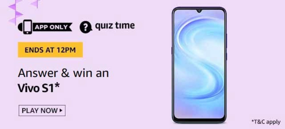 Today's Amazon Quiz Answers - Win Vivo S1