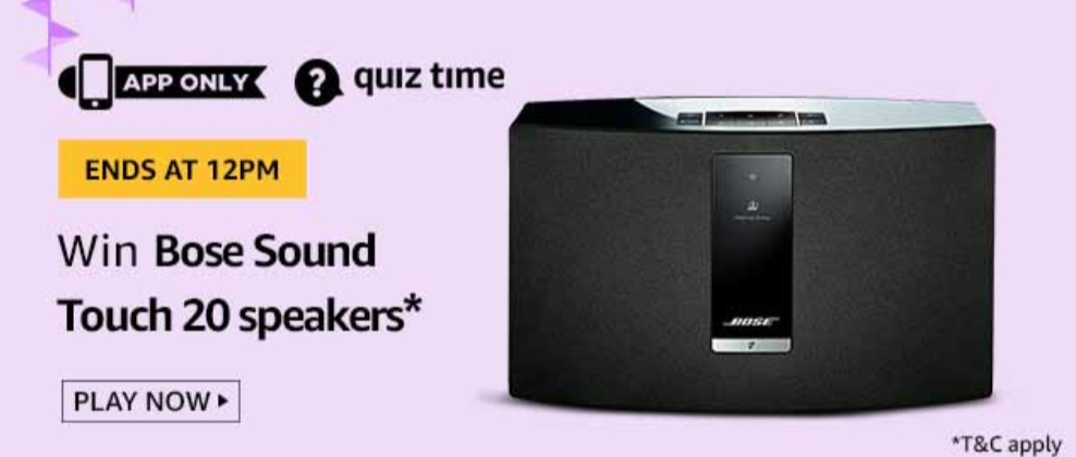 Today's Amazon Quiz Answers [20 Sept 2019] - Win Bose Sound Touch 20 Speakers