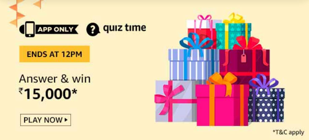 Today's Amazon Quiz Answers - Win Rs.15,000