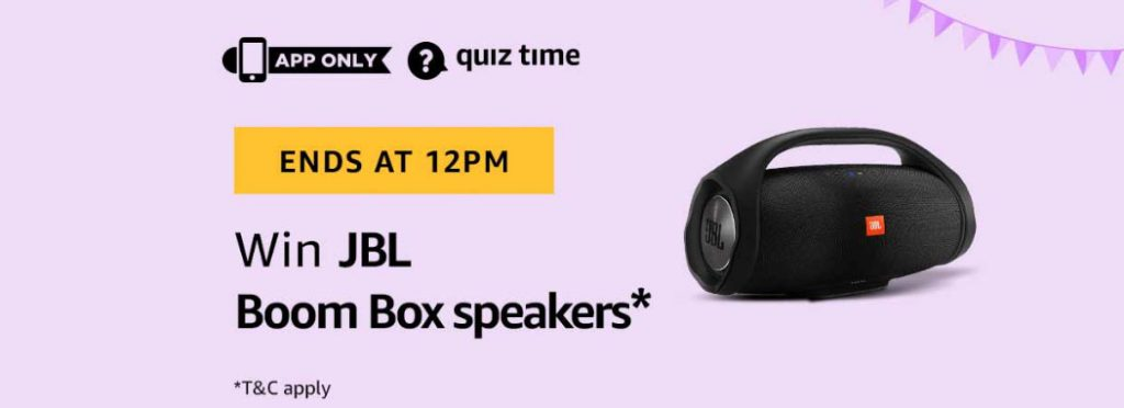 Today's Amazon Quiz Answers - Win JBL Boom Box Speakers