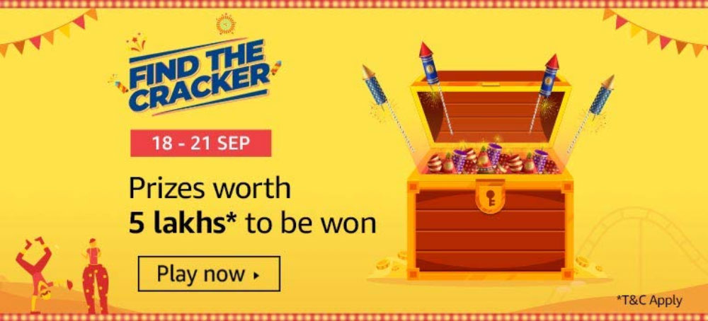 Amazon Find The Cracker Contest - Prizes Worth ₹5 Lakhs [Till 21 Sept 2019]