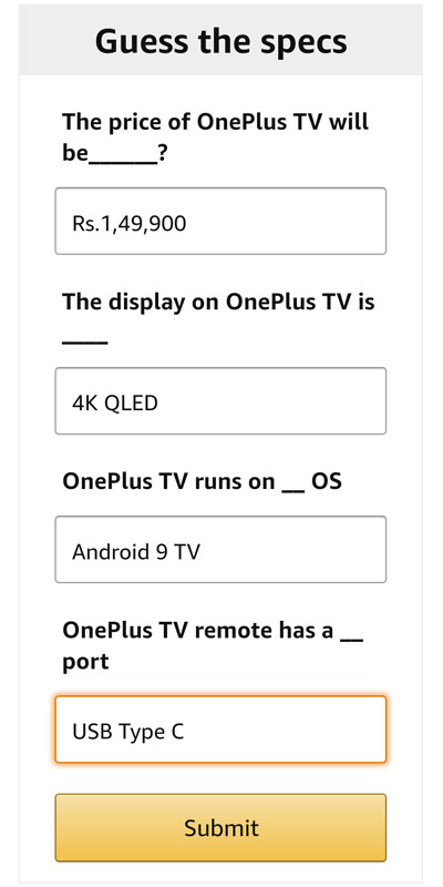 Type in the OnePlus TV Specs