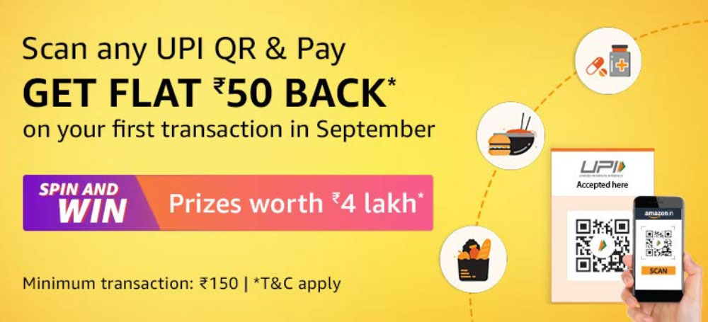 Amazon Pay Offer - Scan UPI QR Code & Pay [Till 30 Sept 2019]