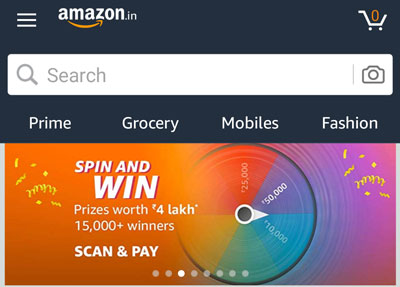 Look for the Amazon Pay UPI Spin and Win  slider