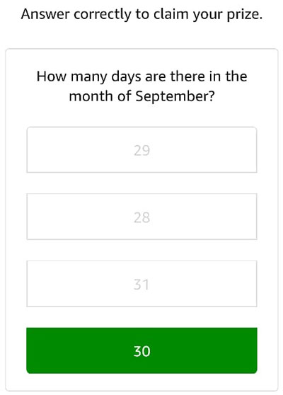 Answers a simple question to confirm your eligibility