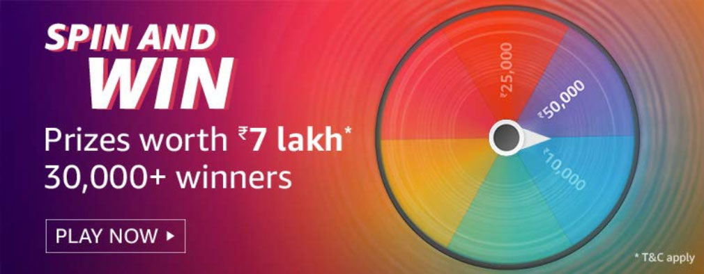 Amazon Spin And Win - 30,000+ Winners (Till 30 Sept 2019)
