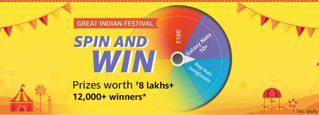 Amazon Spin And Win - 12,000+ Winners (29 Sept - 4 Oct 2019)