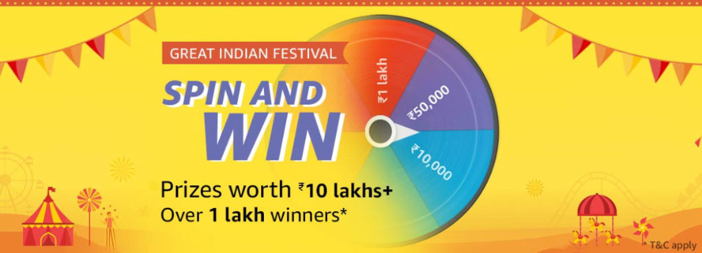 Amazon Spin And Win - 1 Lakh+ Winners (25 Sept 2019)