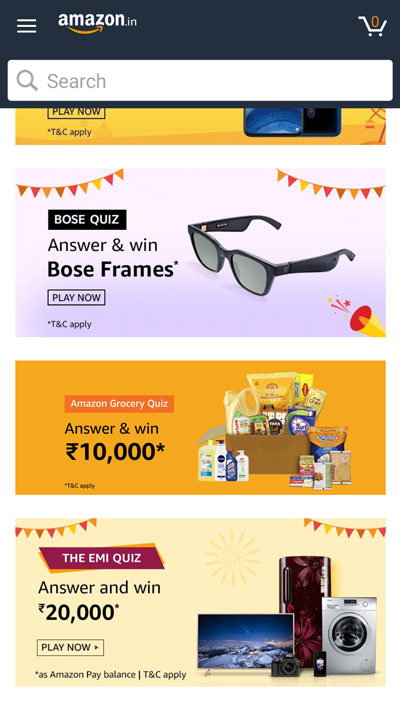 Find the Amazon EMI Quiz from the list of Amazon Quiz Banners