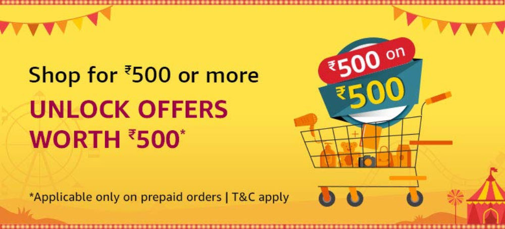 Amazon Great Indian Festival 500 On 500 Offer [28 Sept - 4 Oct 2019]