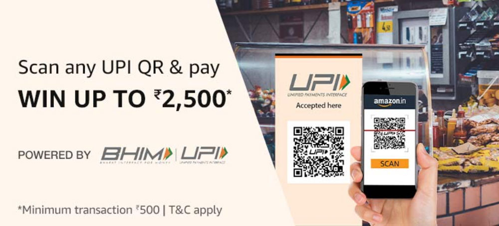Scan QR Code and Pay To Get  ₹15 - ₹2,500 On Amazon Pay UPI