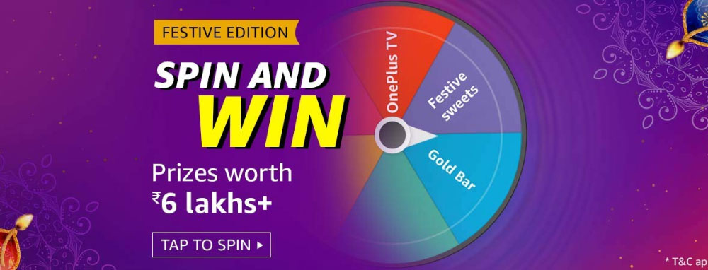 Amazon Festive Spin And Win - Prizes Worth 6 Lakhs+