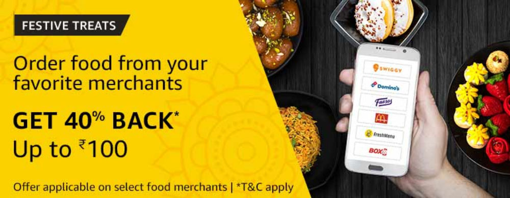 Amazon Food Offer - Get 40% Cashback Up To ₹100