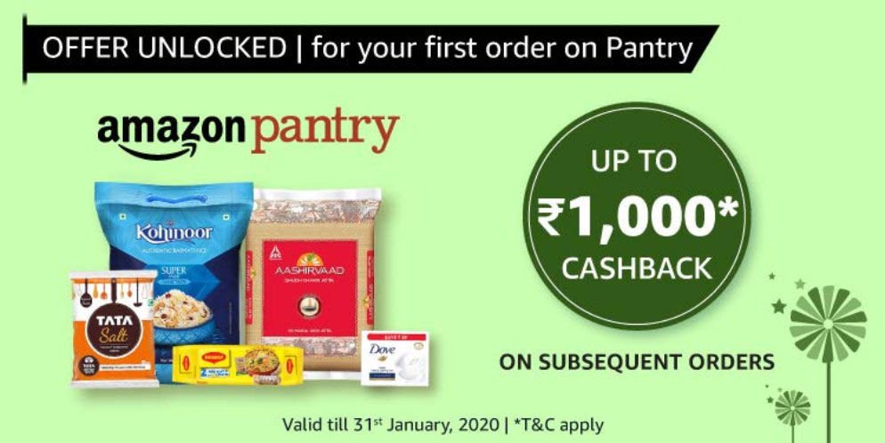 Amazon Pantry Offer - Get 10% Cashback Up To ₹1000 [Till 31 Oct 2019]