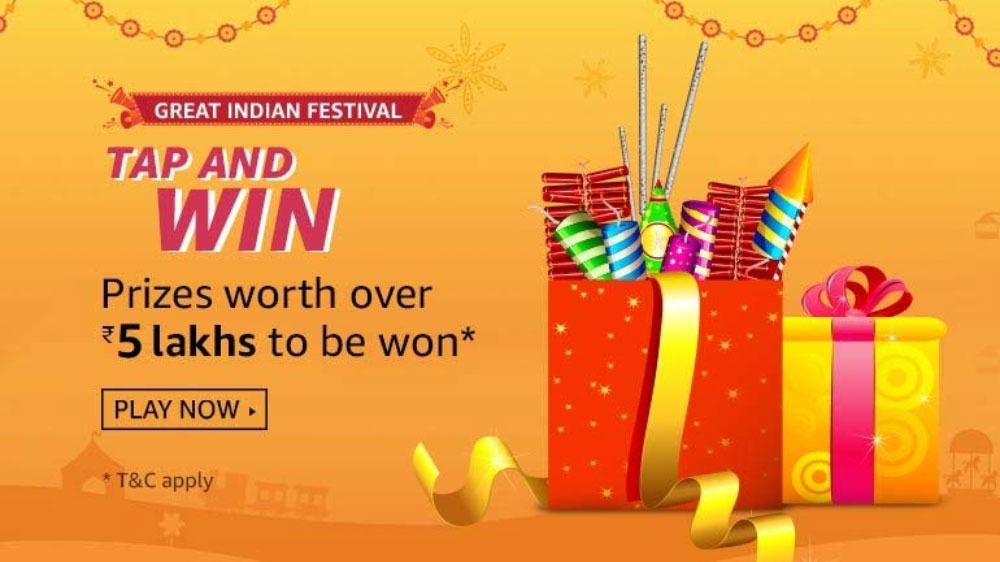 Amazon Tap And Win - Over Rs.5 Lakhs (8 Oct 2019)