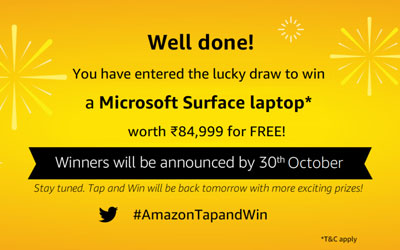 Amazon Tap And Win - Over Rs.5 Lakhs (9 Oct 2019)