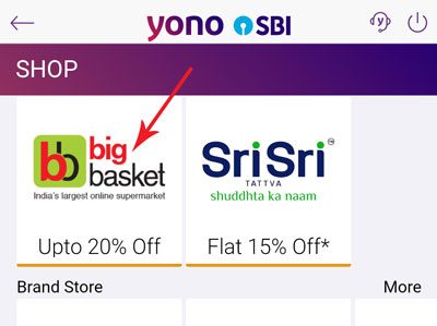 Look for the BigBasket icon and tap on it start shopping
