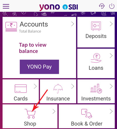 Tap on the SHOP icon in the YONO SBI homepage