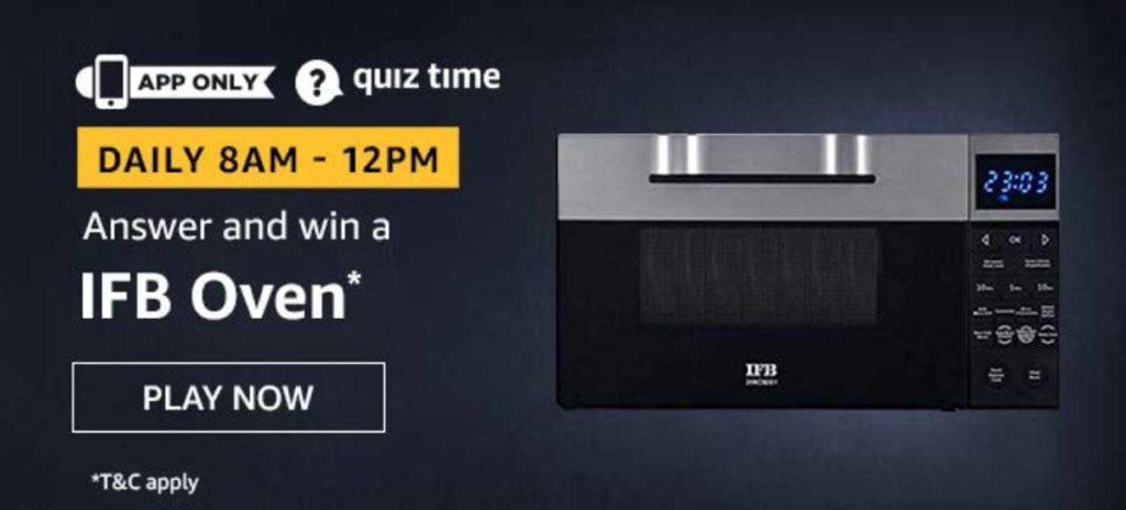 Amazon Daily Quiz Answers [23 Nov 2019] - Win IFB Oven