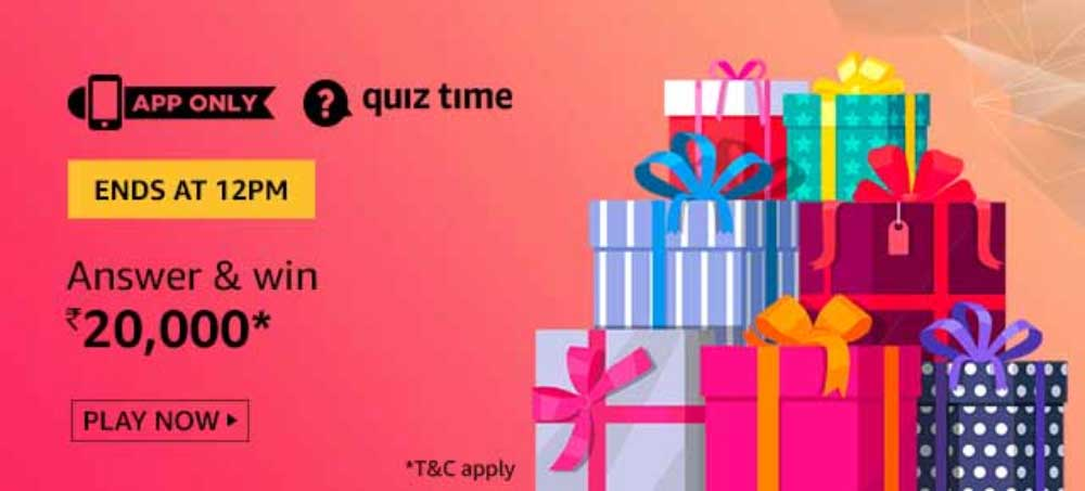 Amazon Daily Quiz Answers - Win Rs.20,000